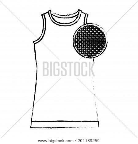 monochrome blurred silhouette of female t-shirt without sleeves and circle of macro textile pattern vector illustration