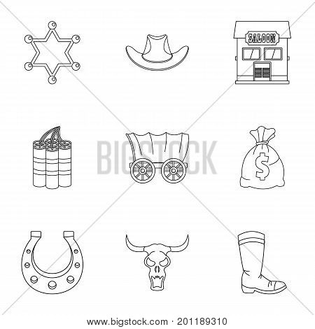 Wild west icon set. Outline set of 9 wild west vector icons for web isolated on white background