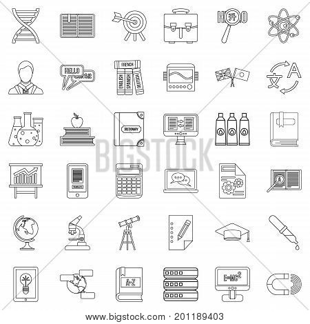 Textbook icons set. Outline style of 36 textbook vector icons for web isolated on white background