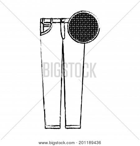 monochrome blurred silhouette of female pants and circle of macro textile pattern vector illustration