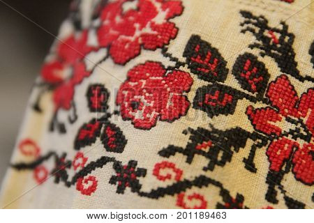 Ethno Seamless Pattern. Ethnic Ukrainian Ornament. Tribal Art Print, Repeatable Background. Fabric D