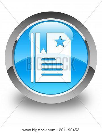 Bookmark Icon Glossy Cyan Blue Round Button