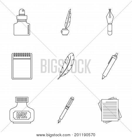 Pen supply tools icon set. Outline set of 9 pen supply tools vector icons for web isolated on white background