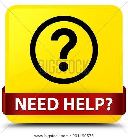 Need Help (question Icon) Yellow Square Button Red Ribbon In Middle