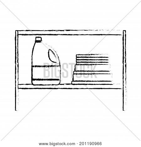 monochrome blurred silhouette of rack with bleach clothes bottle and folded towels vector illustration