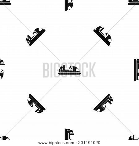 Toy car pattern repeat seamless in black color for any design. Vector geometric illustration