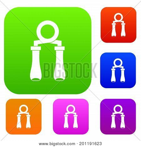 Hand grip trainer set icon in different colors isolated vector illustration. Premium collection