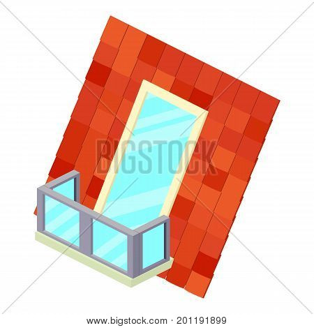 Roof balcony icon. Isometric illustration of roof balcony vector icon for web