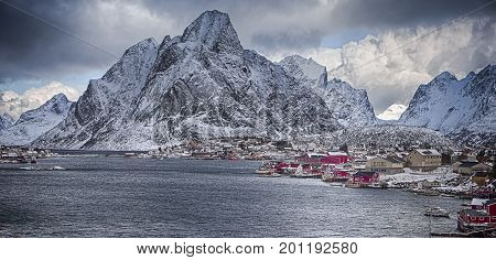 Travel Concept and Ideas. Picturesque View of Reine Villlage on Lofoten Island Over the Polar Circle in Norway.Horizontal Panoramic Image