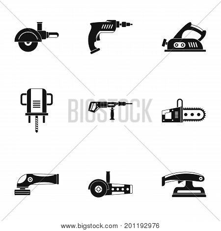 Power electric tool icon set. Simple set of 9 power electric tool vector icons for web isolated on white background