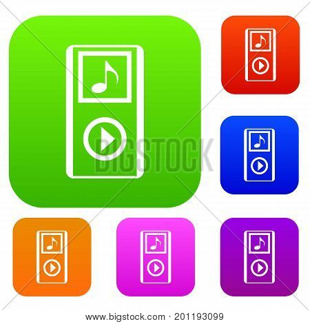 Mini MP3 portable player set icon in different colors isolated vector illustration. Premium collection