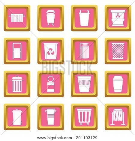 Garbage container icons set in pink color isolated vector illustration for web and any design