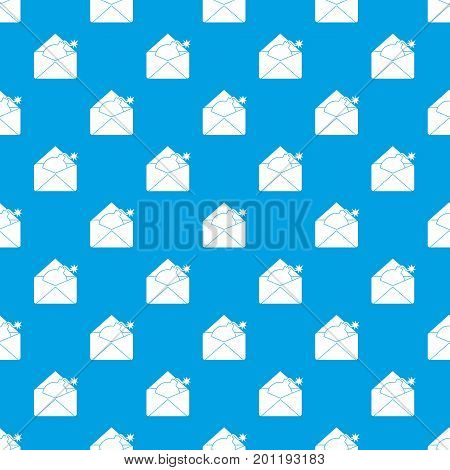Envelope with bomb pattern repeat seamless in blue color for any design. Vector geometric illustration