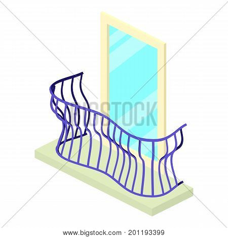 Curved balcony icon. Isometric illustration of curved balcony vector icon for web
