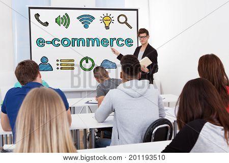 Man Giving Ecommerce Online Shopping Concept Presentation