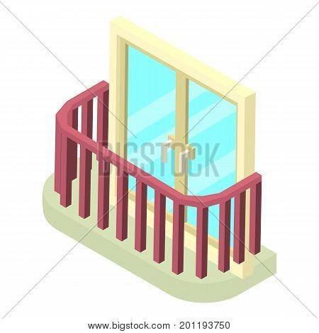Stylish balcony icon. Isometric illustration of stylish balcony vector icon for web