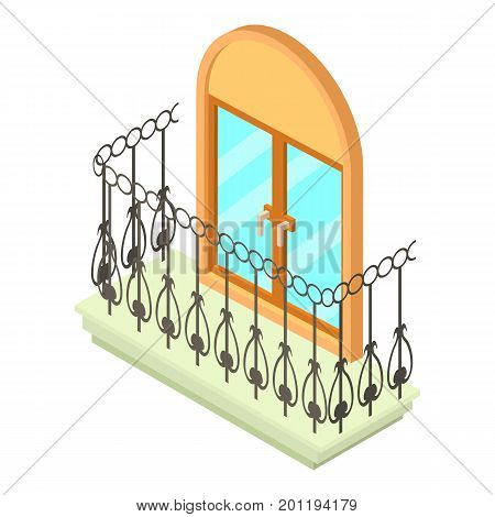 Beautiful balcony icon. Isometric illustration of beautiful balcony vector icon for web