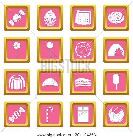 Sweets and candies icons set in pink color isolated vector illustration for web and any design