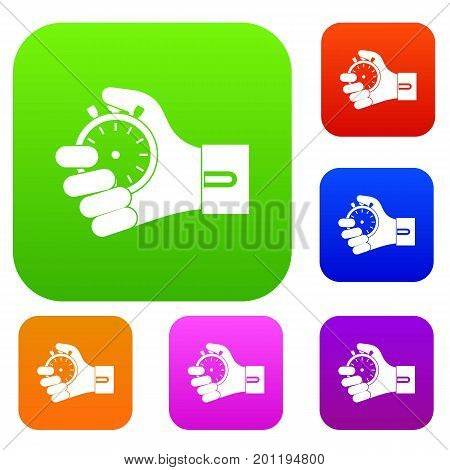 Hand holding stopwatch set icon in different colors isolated vector illustration. Premium collection