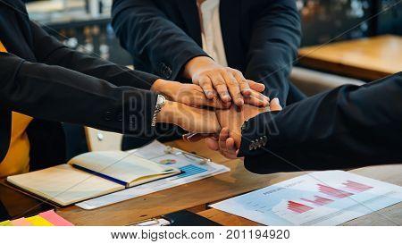 Teamwork togetherness collaboration business teamwork concept.Business teamwork concept hands stack join together