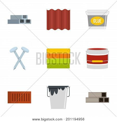 Construction tool icon set. Flat set of 9 construction tool vector icons for web isolated on white background