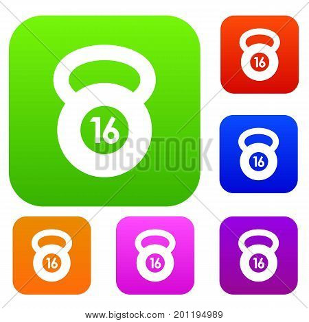 Kettlebell set icon in different colors isolated vector illustration. Premium collection