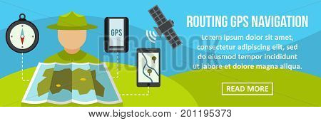 Routing gps navigation banner horizontal concept. Flat illustration of routing gps navigation banner horizontal vector concept for web