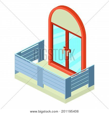 Retro balcony icon. Isometric illustration of retro balcony vector icon for web