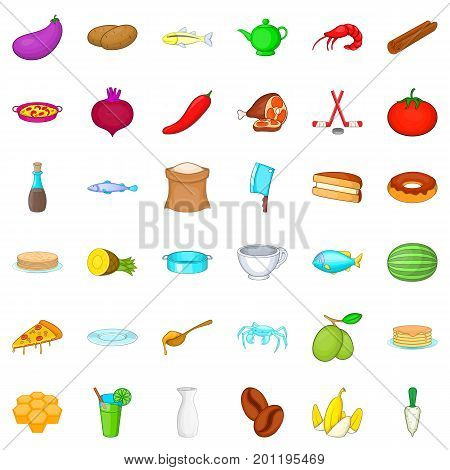 Delicatessen icons set. Cartoon style of 36 delicatessen vector icons for web isolated on white background