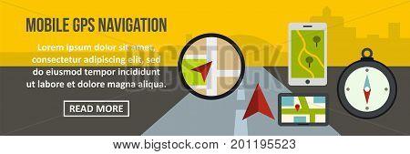 Mobile gps navigation banner horizontal concept. Flat illustration of mobile gps navigation banner horizontal vector concept for web