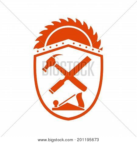 Illustration of a Crossed Hammer and Wood file or Rasp Tools with circular saw blade on top set inside Crest shield on isolated background done in Retro style.