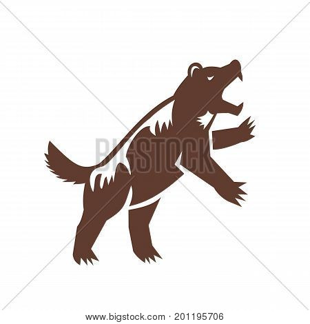 Illustration of a wolverine Gulo gulo glutton carcajou skunk bear or quickhatch the largest land-dwelling species of the family Mustelidae standing on hind legs viewed from side done in retro style. poster