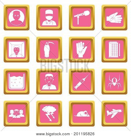 Phobia symbols icons set in pink color isolated vector illustration for web and any design
