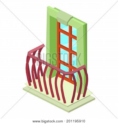 Facade balcony icon. Isometric illustration of facade balcony vector icon for web