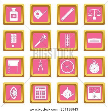 Measure precision icons set in pink color isolated vector illustration for web and any design