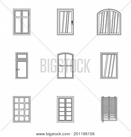 Apartment window icon set. Outline set of 9 apartment window vector icons for web isolated on white background