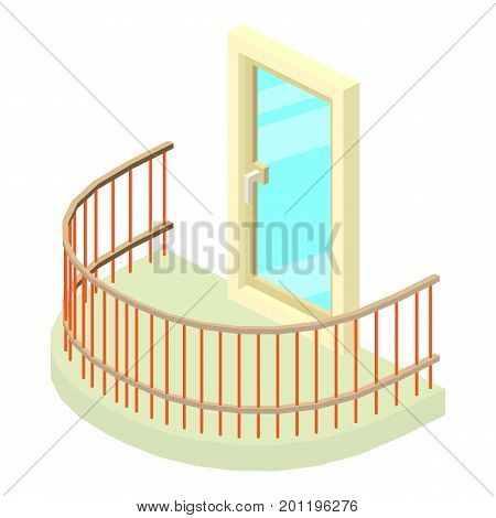 Semicircular balcony icon. Isometric illustration of semicircular balcony vector icon for web