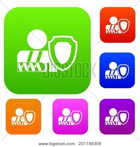 Broken arm and safety shield set icon in different colors isolated vector illustration. Premium collection