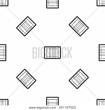 Rugby field pattern repeat seamless in black color for any design. Vector geometric illustration
