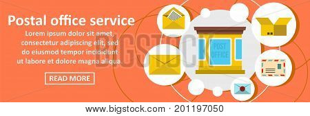 Postal office service banner horizontal concept. Flat illustration of postal office service banner horizontal vector concept for web
