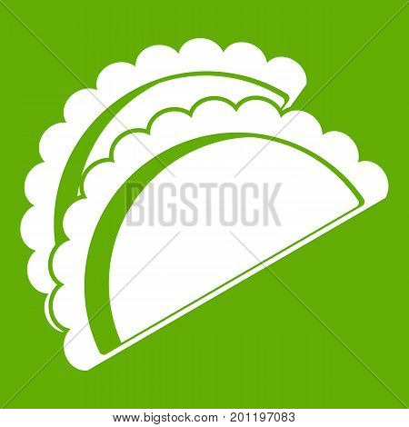 Empanadas de pollo icon white isolated on green background. Vector illustration
