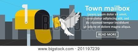 Town mailbox banner horizontal concept. Flat illustration of town mailbox banner horizontal vector concept for web