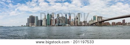 Panorama View of Manhattan New York Skyline From Brooklyn