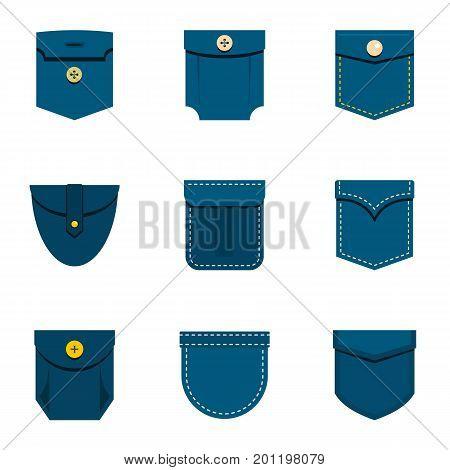 Fashion pocket icon set. Flat set of 9 fashion pocket vector icons for web isolated on white background