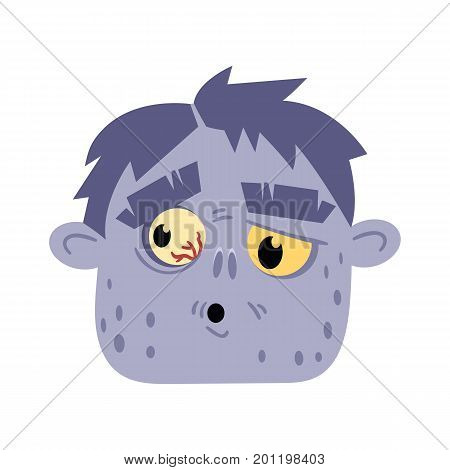 Undead monster head avatar in cartoon style. Halloween undead sign, scary dead man icon, zombie character vector illustration