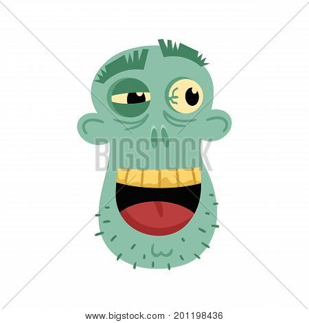 Smiling zombie head avatar in cartoon style. Halloween undead sign, scary dead man icon, zombie character vector illustration