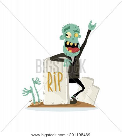 Smiling zombie character near rip gravestone in cartoon style. Halloween undead sign, horror monster personage, walking dead man vector illustration