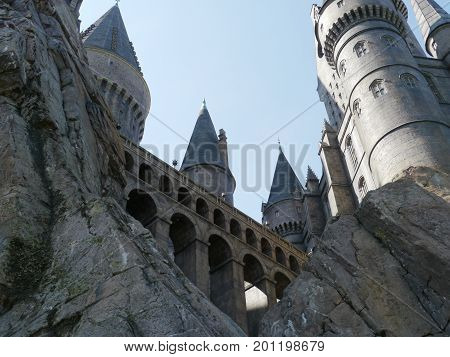 ORLANDO, FLORIDA, USA--The impressive structure of Hogwarts Castle at Universal Studios  theme park in Orlando, Florida in August 2015.
