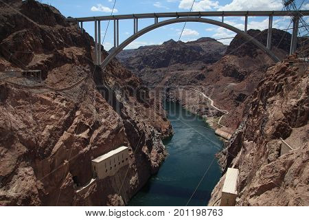 Bridge over Colorado River in Hoover Dam that borders Nevada and Arizona states