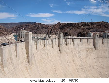 BOULDER CITY, NEVADA--Hoover Dam, originally known as Boulder Dam attracts over a million visitors each year. Photo taken in August 2015.